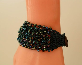 Green Crochet - Handknit Bracelet - Special Design