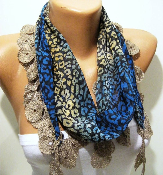 Leopard and Blue Elegance Shawl / Scarf with Lace Edge
