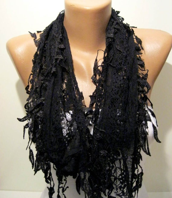 Black Lace and Elegance Shawl / Scarf - with Lace Edge