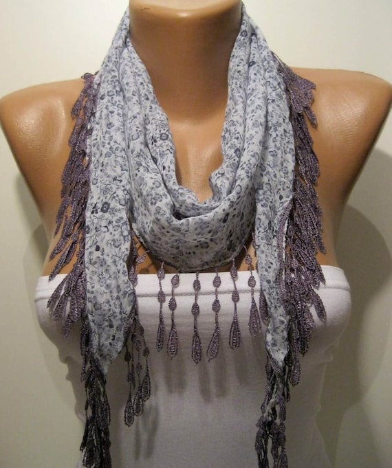 Grey and Flowered Elegance Shawl / Scarf with Lace Edge