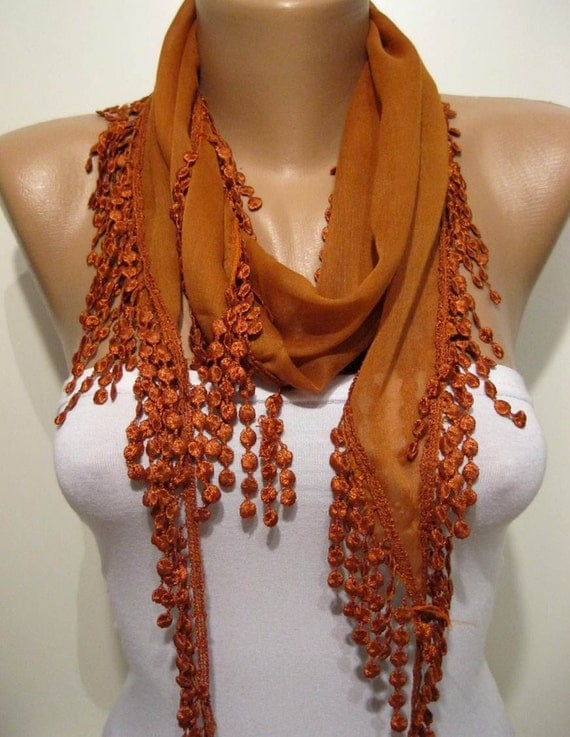 Dark Orange Elegance Shawl / Scarf with Lace Edge