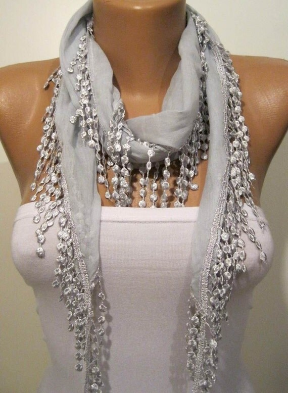 Very Light Grey Shawl / Scarf with Lace Edge