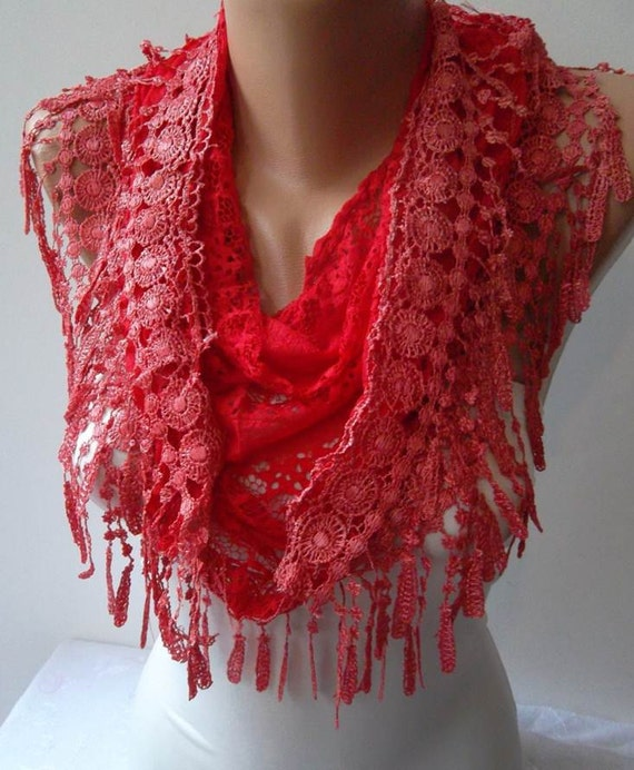 Red Scarf - Laced Fabric - with Red Trim Edge