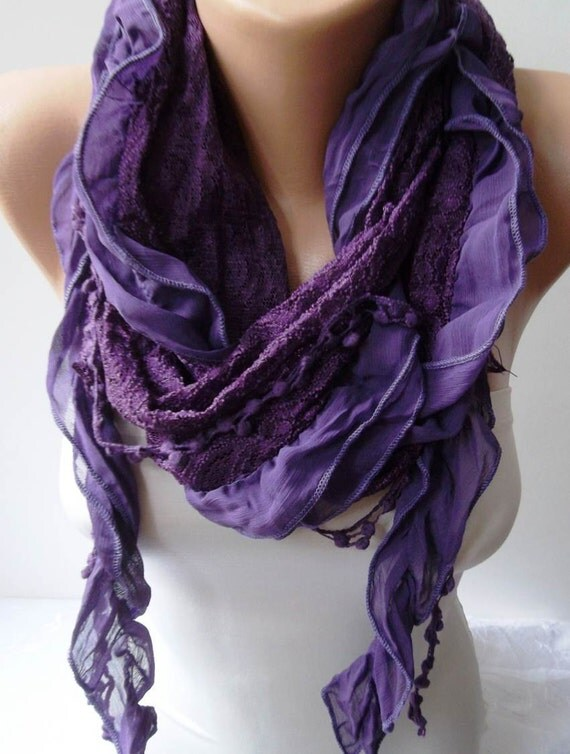 Purple Chiffon and Laced Fabric Scarf - with Pompom