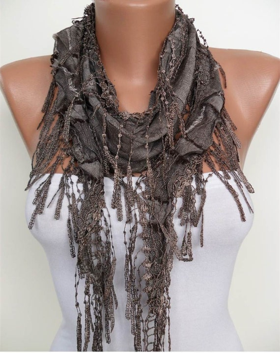 New - Brown Scarf with Brown Trim Edge
