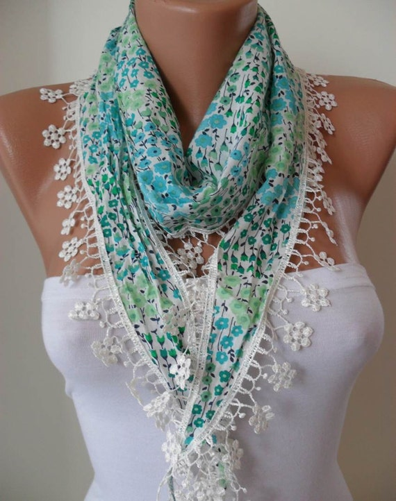 Green Flowered Scarf with White Trim Edge Shaped Flower
