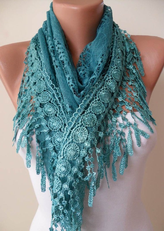 Turqouise Color Laced Scarf - with Same Color Trim Edge