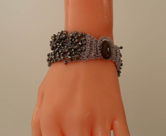Fashion - Gray Crochet and Handknit Bracelet - Special Design