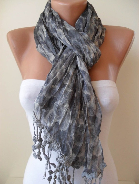 Grey Flowered Scarf - with Grey Trim Edge - Spring Trend