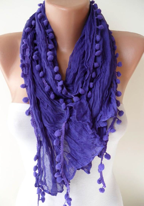 New - Mother's Day Gift -  Purple Cotton Scarf with Pompom Trim Edge