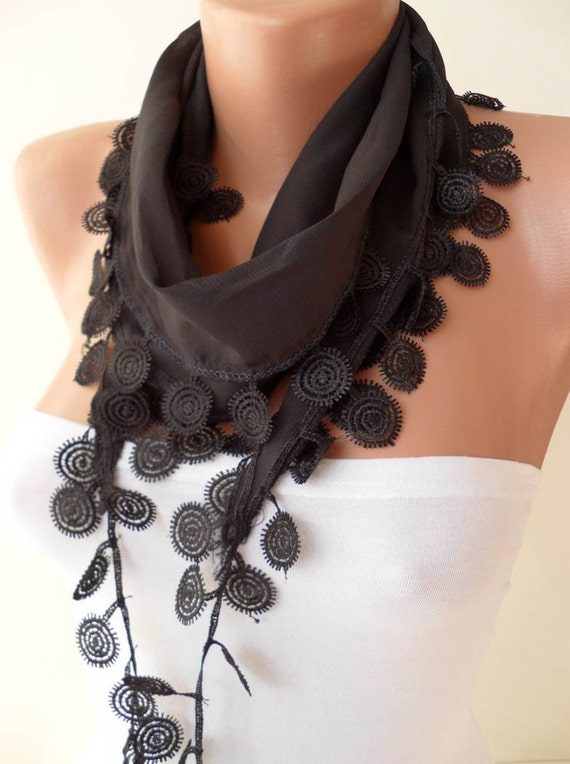 ON SALE - Black Scarf with Black Trim Edge - Silky and Soft Fabric