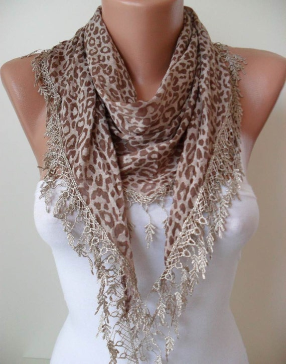 Brown - Leopard Print  Scarf with Trim Edge