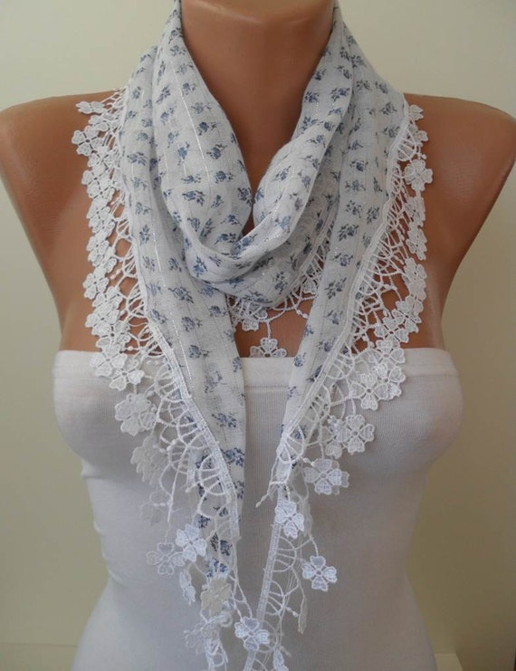 White Scarf with Light Blue Flowered Fabric - with White Trim Edge