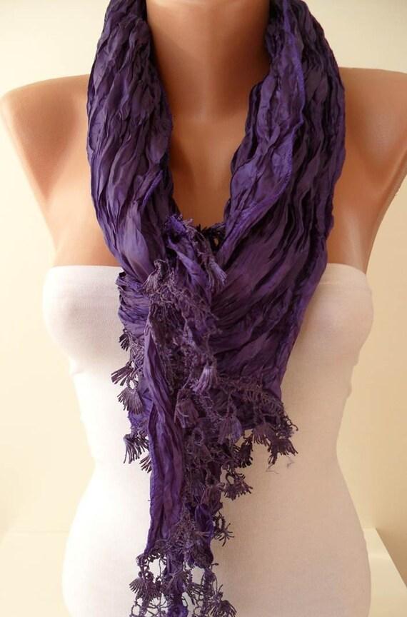 ON SALE - Purple Scarf with Purple Trim Edge - New