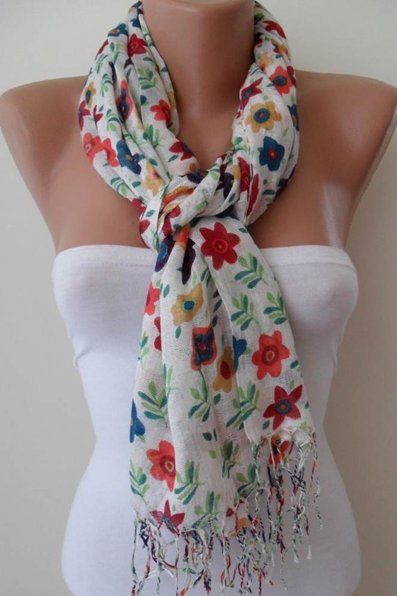 White and Flowered Scarf