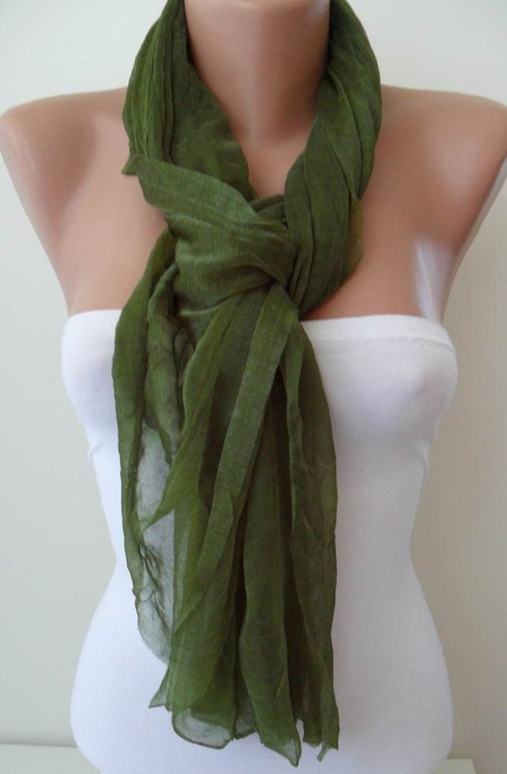 New - Mother's Day  - Olive Green Scarf - Tulle Fabric - Seamless Shawl