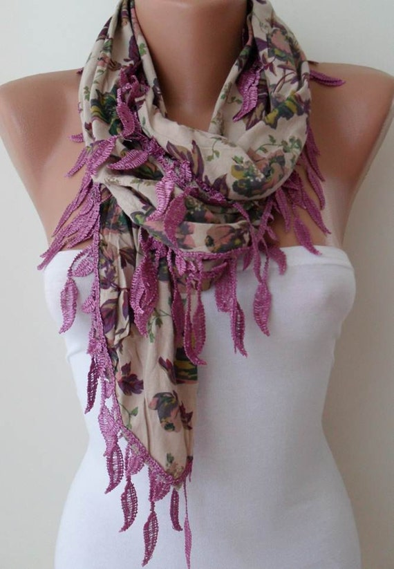 SALE SALE - Purple and Tropical Flowered Scarf with Purple Trim Edge