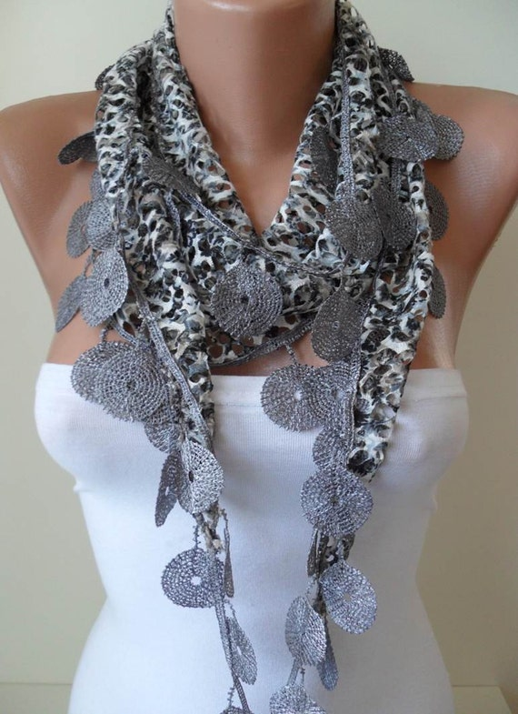 SALE SALE - Perforated Fabric - Grey Scarf  with Trim Edge