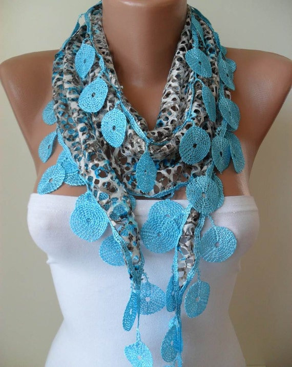 ON SALE - Perforated Fabric - Blue Scarf with Blue Trim Edge - Summer Design