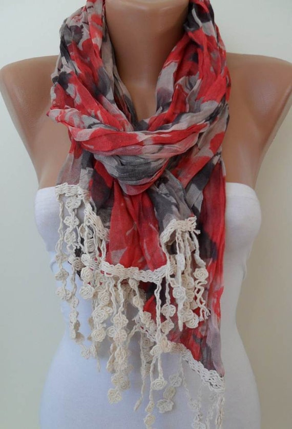 New - Red and Gray Scarf - with Beige Trim Edge
