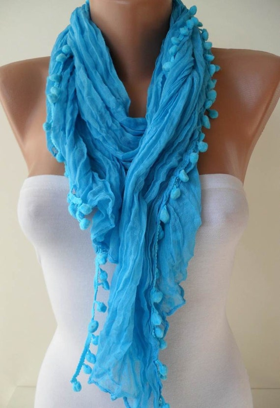 Trendy - Blue Cotton Scarf with Pompom Trim