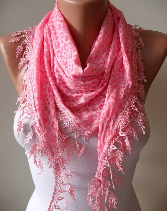 Pink Leopard Scarf  with Trim Edge
