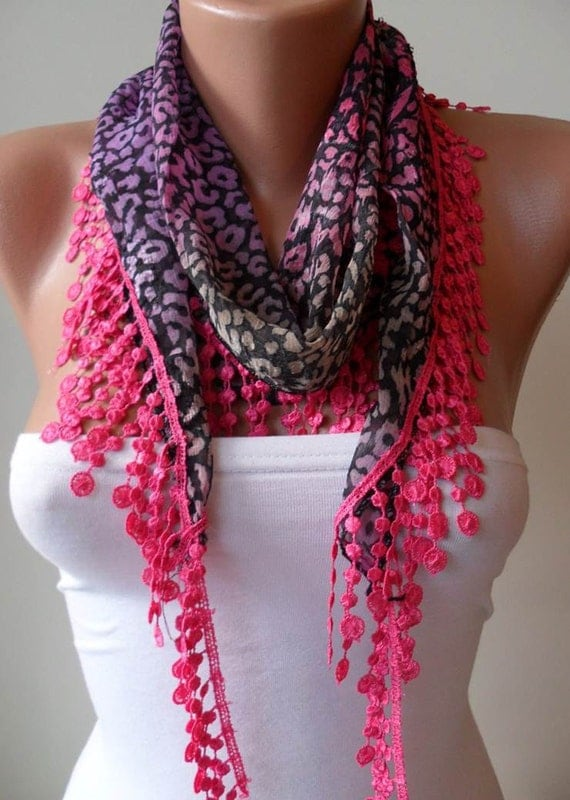 Leopard Print - Pink Scarf with Pink Trim Edge