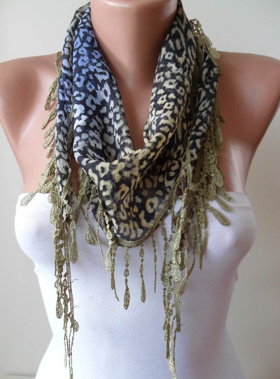 SALE - Leopard and Green Scarf with Green Trim Edge