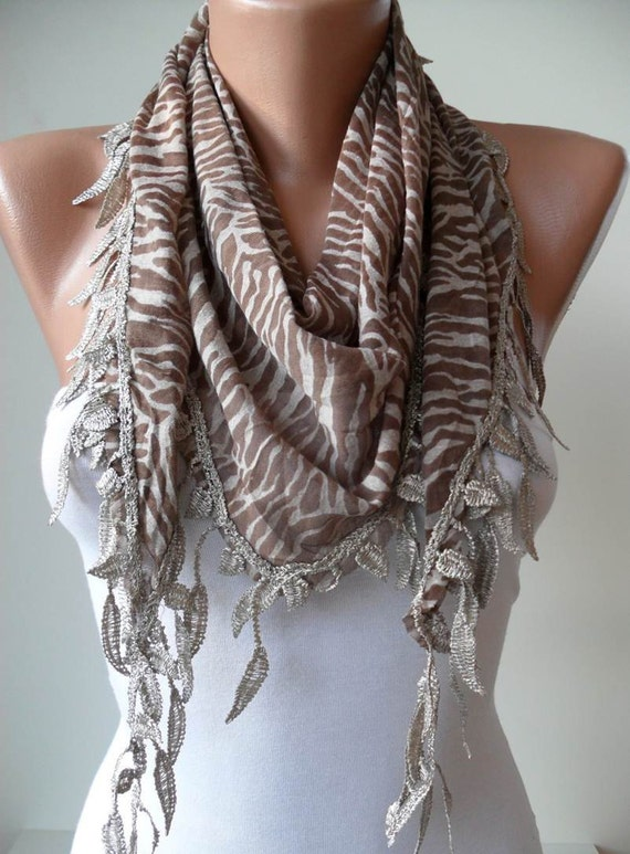 Light Brown and Leopard Scarf with Trim Edge - Triangular