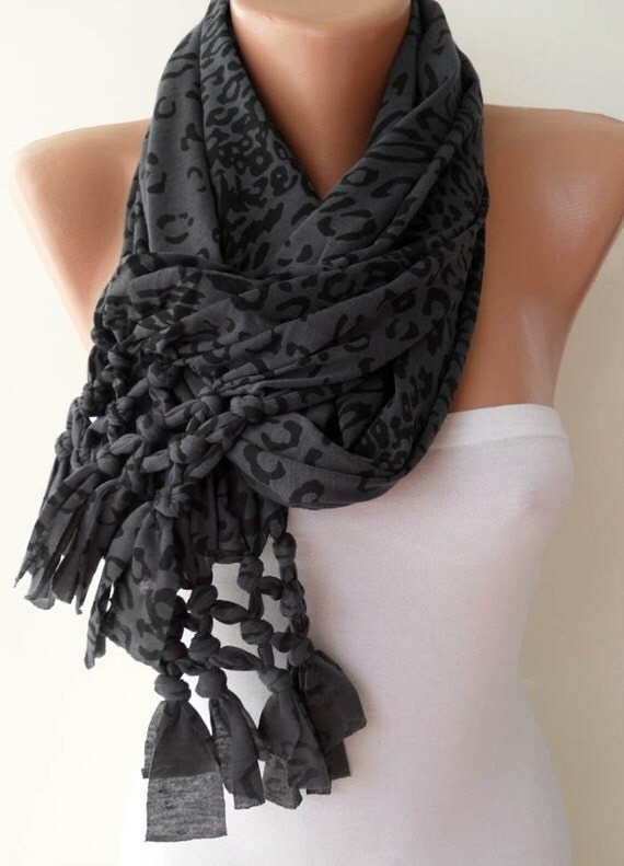 Mother's Day Gift  - ON SALE - Dark Gray and Black Leopard Scarf