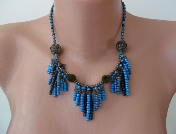Blue and Grey Necklace - Speacial Design