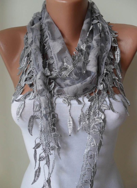 Fashion Scarf - Light Gray Scarf  with Trim Edge Shaped Leaves
