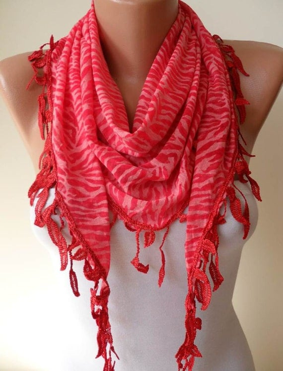 Red Scarf  - Leopard Fabric with Red Trim Edge - Triangular