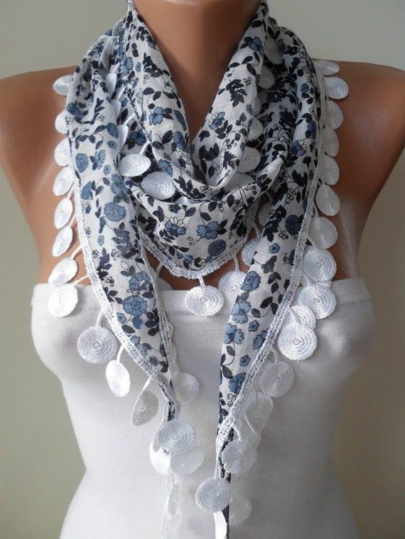White Scarf with Dark Blue Flowered Fabric - with White Trim Edge