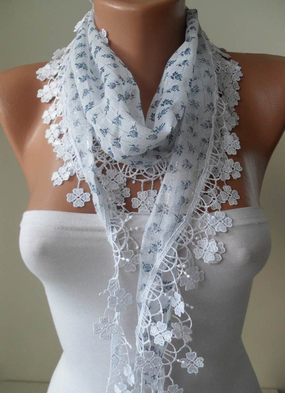 White Scarf with Blue Flowered Fabric - with White Trim Edge