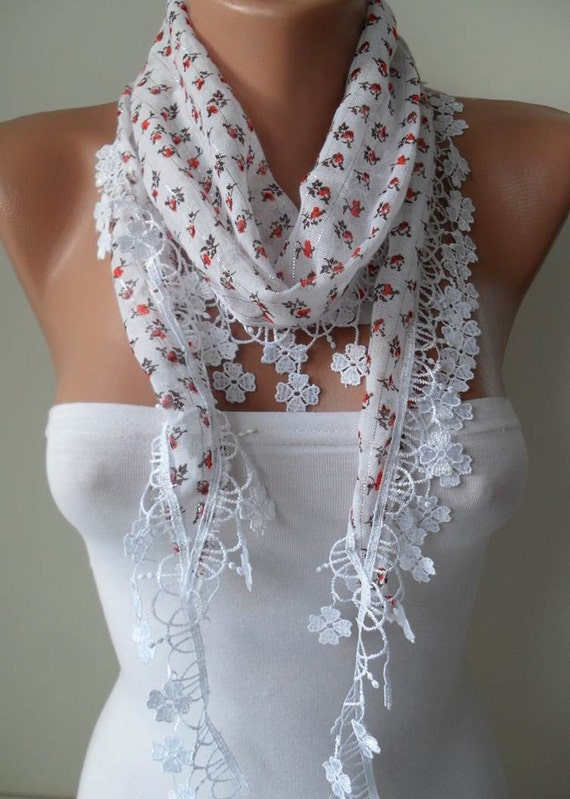White Scarf with Orange Flowered Fabric - with White Trim Edge