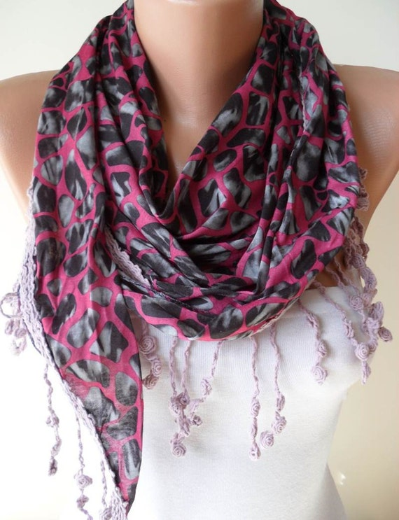 Leopard Print - Pink Scarf - with Pink Trim Edge