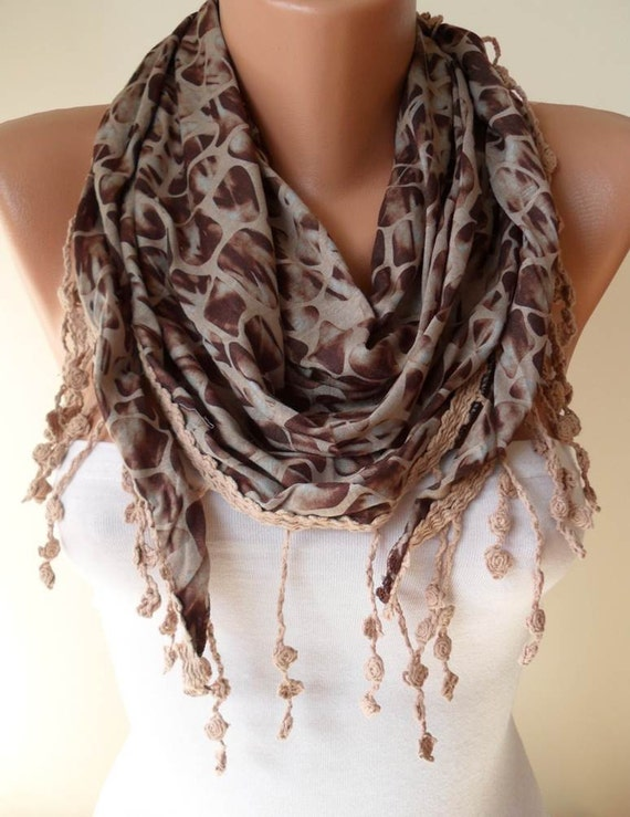 ON SALE - Leopard Print - Light Brown Scarf - with Trim Edge