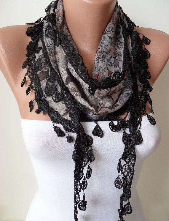 Grey and Multi Color Scarf with Black Trim Edge