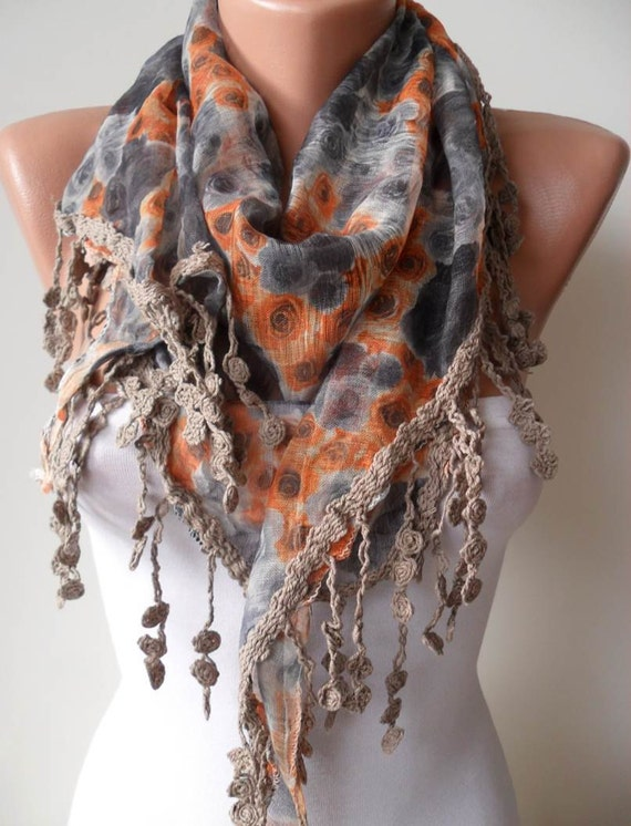 New - Autumn Scarf - Grey and Orange Flowered Scarf - with Light Brown Trim Edge  - Triangular