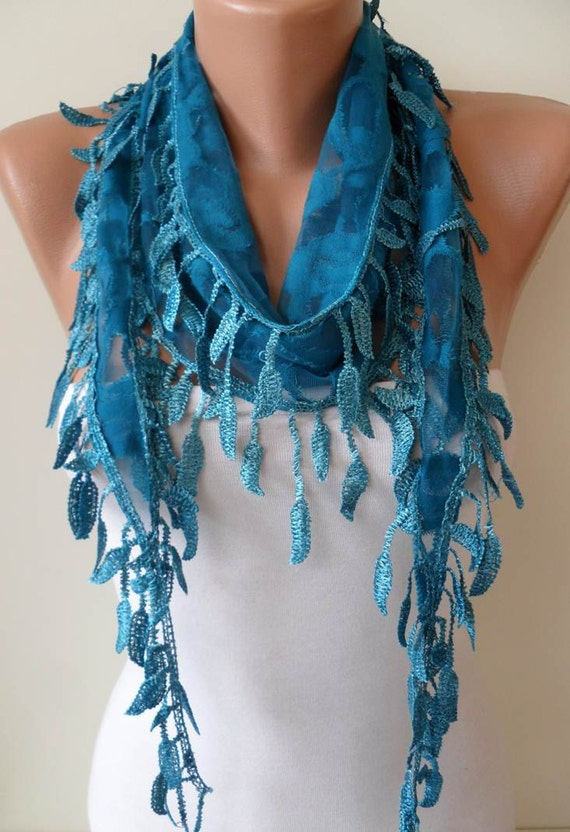 Royal Blue Scarf - with Blue Trim Edge Shaped Leaves