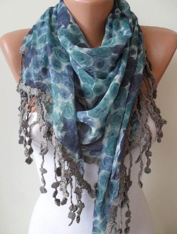 Blue Flowered Scarf - with Grey Trim Edge - Triangular