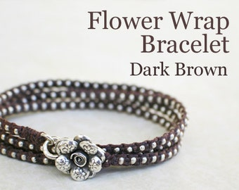 Beaded Bracelet - Brown Waxed Irish Linen Wrap Bracelet with Thai Silver Beads and Thai Silver Flower Clasp