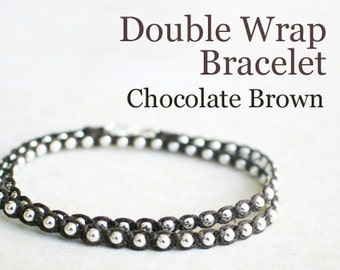 Chocolate Brown Waxed Irish Linen Wrap Bracelet with Sterling Silver Beads and Thai Silver Hook Clasp