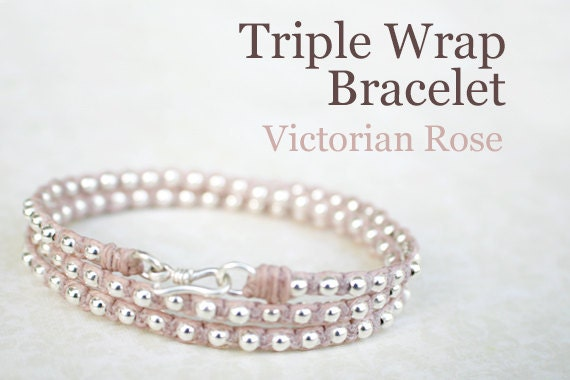 Victorian Rose Waxed Irish Linen Wrap Bracelet with Sterling Silver Beads and Thai Silver Hook Clasp