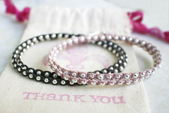 2 Double Wrap Bracelets - Chocolate Brown and Victorian Rose Waxed Irish Linen with Sterling Silver Beads and Thai Silver Hook Clasps