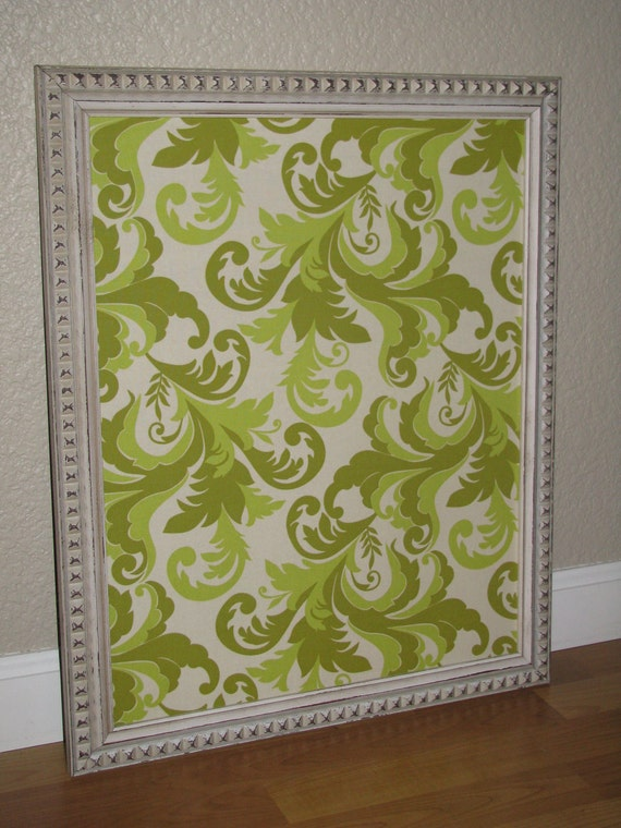 Fabric lined magnetic board Shabby Chic 16x20