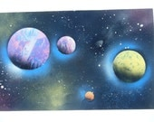 Spray Paint art / Space Scene / Planet Scene / Poster / Colorful / 14x22