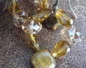 Beautiful Beaded Crystal and Tiger/Cat Eye Earrings