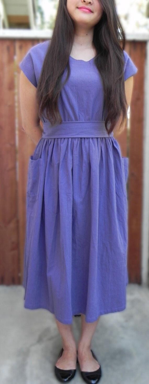 80s Vintage Linen Purple Summer Dress